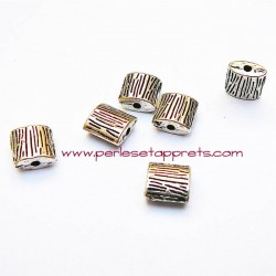 Perle carrée intercalaire en métal argenté 8mm pour bijoux perles et apprêts