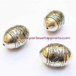 Perle ovale en métal argenté 25mm ethnique pour bijoux perles et apprêts
