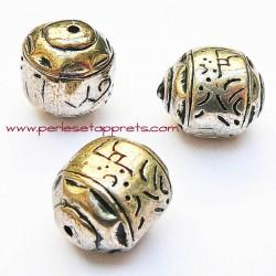 Perle ovale carrée ethnique en métal argenté 23mm pour bijoux perles et apprêts