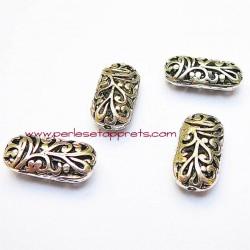 Perle rectangulaire en filigrane en métal argenté 22mm pour bijoux perles et apprêts