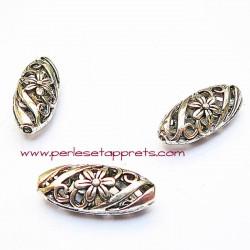 Perle filigranée en métal argenté 23mm