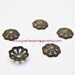 Coupelle calotte caps en filigrane métal bronze cuivre 9mm pour bijoux, perles et apprêts