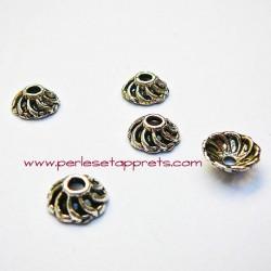 Lot 10 coupelles calottes caps en métal argent tibétain 8mm pour bijoux perles et apprêts