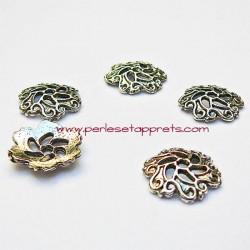 Lot 10 coupelles calottes caps filigranée en métal argenté 13mm pour bijoux perles et apprêts