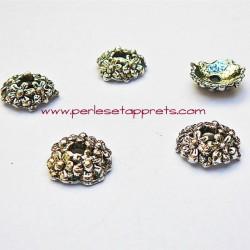Lot 8 coupelles calottes caps en métal argenté tibétain 11mm pour bijoux perles et apprêts