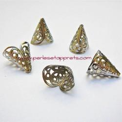 Coupelle calotte caps cône filigranée en métal argenté 17mm pour bijoux perles et apprêts
