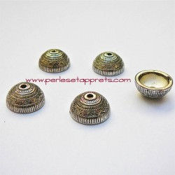 Coupelle calotte caps ronde en métal argenté 13mm pour bijoux perles et apprêts