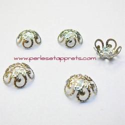 Lot 20 coupelles calottes caps ciselée en métal argenté 10mm pour bijoux perles et apprêts