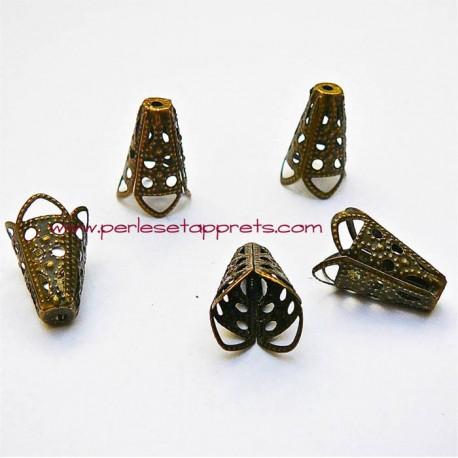 Lot 10 coupelles calottes caps en filigrane cône en métal bronze laiton 17mm pour bijoux perles et apprêts