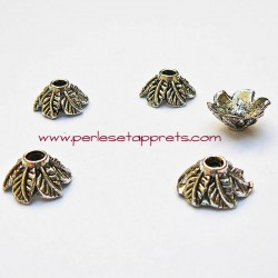 Coupelle calotte caps feuille en métal argenté 11mm pour bijoux perles et apprêts