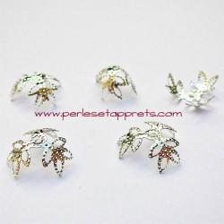 Lot 10 coupelles calottes caps ciselée en métal argenté 12mm pour bijoux perles et apprêts