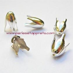 Lot 20 coupelles calottes caps 10mm en métal argent, pour bijoux, perles et apprêts
