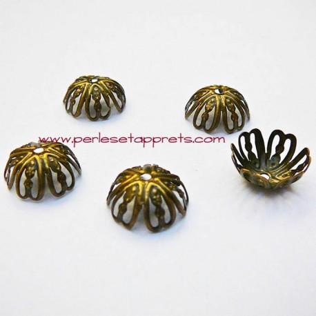 Lot 10 coupelles calottes caps ciselée en métal bronze laiton 13mm pour bijoux perles et apprêts