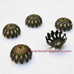 Lot 10 coupelles calottes caps ciselée en métal bronze laiton 12mm pour bijoux perles et apprêts