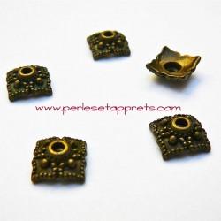 Coupelle calotte caps carrée en métal bronze laiton 8mm pour bijoux perles et apprêts