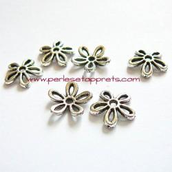 Lot 10 coupelles calottes caps fleur en métal argenté 11mm pour bijoux perles et apprêts