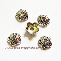 Lot 10 coupelles calottes caps en métal argenté 10mm pour bijoux perles et apprêts