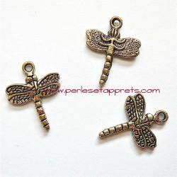 Lot 6 breloques libellule en métal argenté