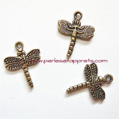 Lot 6 breloques libellules en métal argenté pour bijoux perles et apprêts