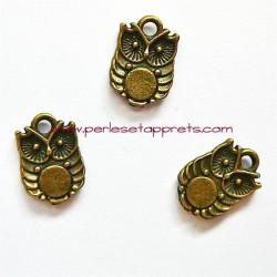Breloque chouette hibou en métal bronze laiton 13mm double face pour bijoux perles et apprêts