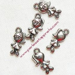 Lot 6 breloques fillette en métal argenté pour bijoux perles et apprêts
