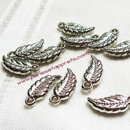 Lot 10 breloques feuilles argentées acrylique synthétique pour bijoux perles et apprêts