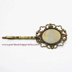 Lot 2 épingles à cheveux ovale en métal bronze laiton 30mm à décorer perles et apprêts