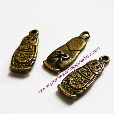 Lot 5 breloques matriochka en métal bronze laiton 20mm pour bijoux perles et apprêts