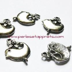 Lot 8 breloques oiseau en métal argenté pour bijoux perles et apprêts