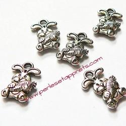 Lot 5 breloques lapin en métal argenté pour bijoux perles et apprêts