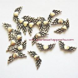 Lot 6 breloques ailes coeur en métal argenté pour bijoux perles et apprêts
