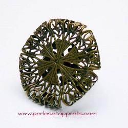 Bague ronde 30mm filigrane en bronze laiton, à décorer, perles et apprêts