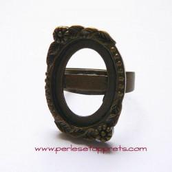 Bague ovale 23mm en bronze laiton à décorer, perles et apprêts