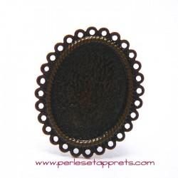 Bague ovale 34mm en bronze laiton à décorer, perles et apprêts
