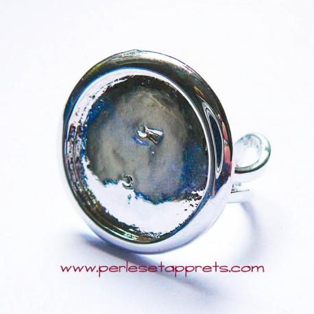 Bague ronde argentée double anneau 20mm