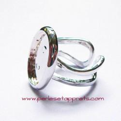 Bague ovale 18mm en métal cuivre argent, à décorer, perles et apprêts