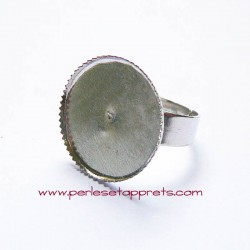 Bague ronde 22mm en métal argent rhodié, à décorer, perles et apprêts