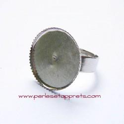 Bague ronde 18mm en métal argent rhodium à décorer, perles et apprêts
