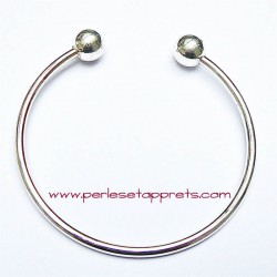 Bracelet rigide argenté perle gros trou 18cm