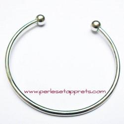 Bracelet rigide argenté perle gros trou 19cm