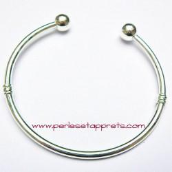 Bracelet rigide argenté perle gros trou 20cm