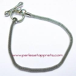 Bracelet souple argenté perle gros trou 22cm, à décorer, perles et apprêts