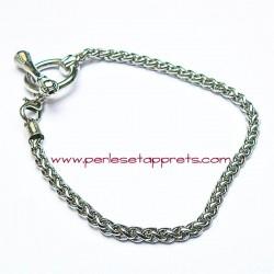 Bracelet souple argenté perle gros trou 19cm, à décorer, perles et apprêts