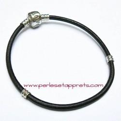 Bracelet noir cuir perle gros trou 20cm