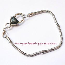 Bracelet souple argenté coeur perle gros trou 20cm