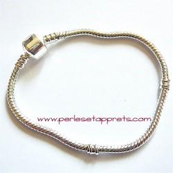 Bracelet souple argenté perle gros trou 18cm