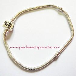 Bracelet souple argenté perle gros trou 20cm