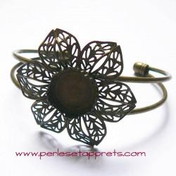 Bracelet jonc réglable en laiton fleur filigrane