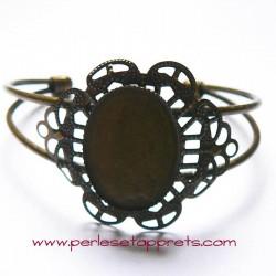 Bracelet jonc en laiton filigrane cabochon 25mm