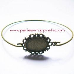 Bracelet rigide en laiton cabochon ovale 18mm à décorer, perles et apprêts